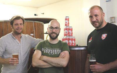 Gloucester Rugby's George Skivington samples By George beer named in his honour